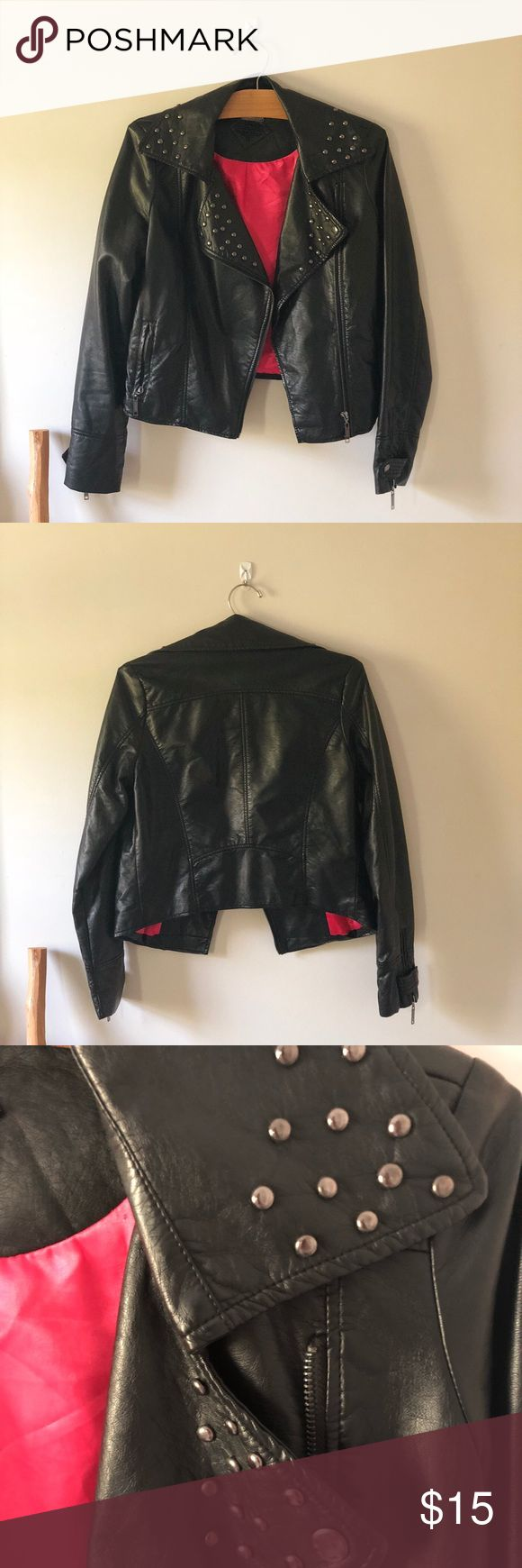 Jou Jou Black Faux Leather Jacket Black faux leather