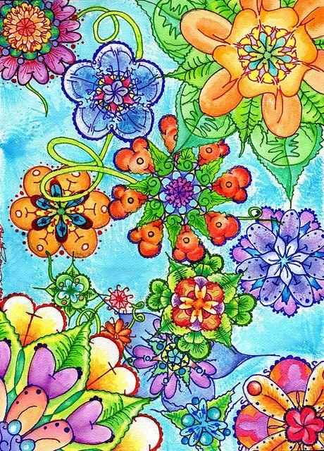 Colorful Flowers, Colors Flower, Doodles Flower, Art Journals, Happy Colors, Doodle Flowers, Colored Pencils, Flower Doodles, Bright Colours
