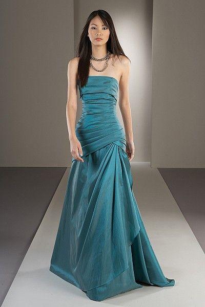 Watters #2708: Luminescent taffeta strapless dress with draped drop waist bodice and full skirt.