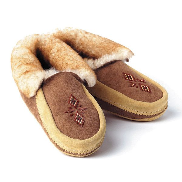 Manitobah Unisex Red River Moccasin Sheepskin Lined Shoe with Rabbit Fur
