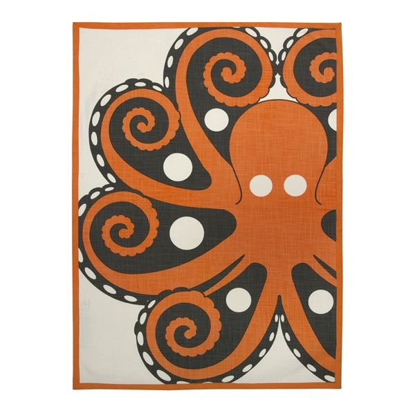 AMALFI OCTOPUS 20x28 TEA TOWEL - Mandarin