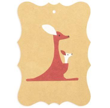Gift tag Kangaroo - Bobangles #SundayPaper #Australia #gift #tag #kangaroo