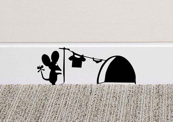 213b mouse hole wall art sticker washing vinyl decal mice home skirting board funny amazon