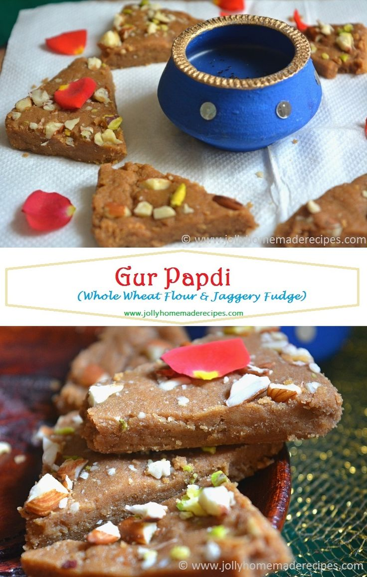 Gur Papdi Recipe | Whole Wheat Flour & Jaggery Fudge