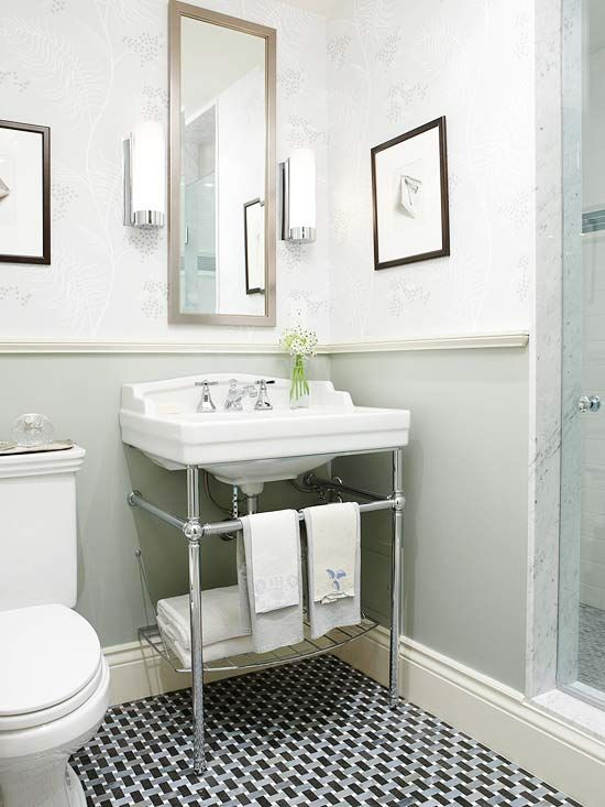 chrome legs - takes up less space than a cabinet but offers more storage than a pedestal.