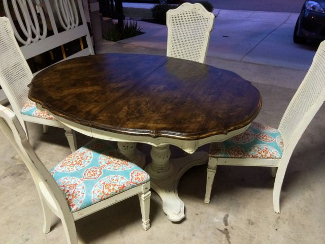 White shabby distressed dining table painted furniture by blue eyed - Painted dining tables distressed ...