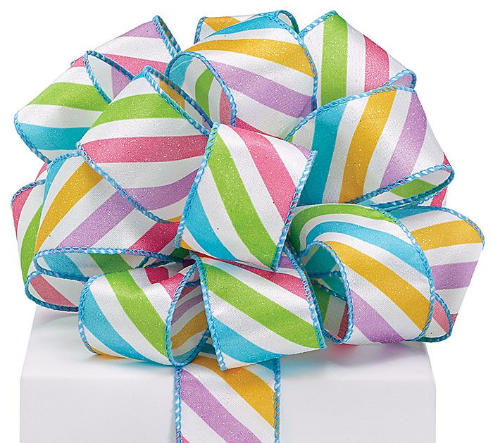 Turn an ordinary gift into an extraordinary gift with this Spring Stripes Ribbon! #burtonandburton #ribbon #spring