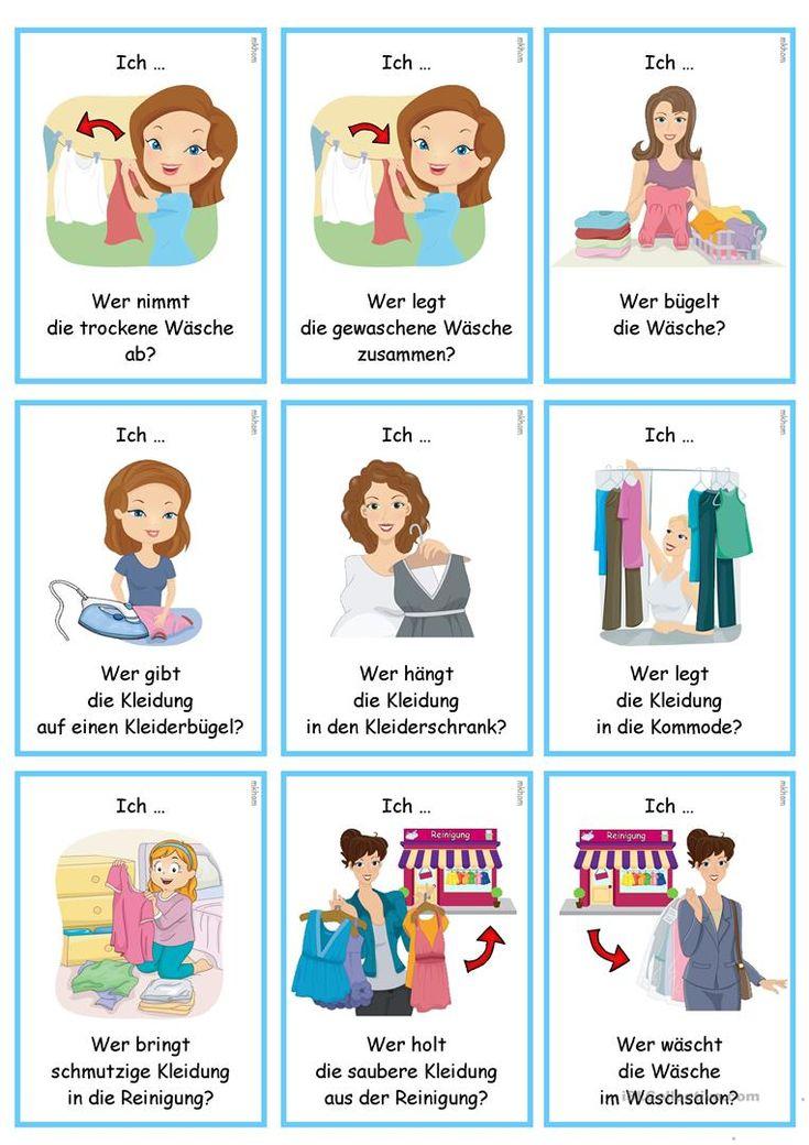 lesespiel verbkonjugation waschtag ich lerne deutsch deutsch lernen lesespiele und. Black Bedroom Furniture Sets. Home Design Ideas