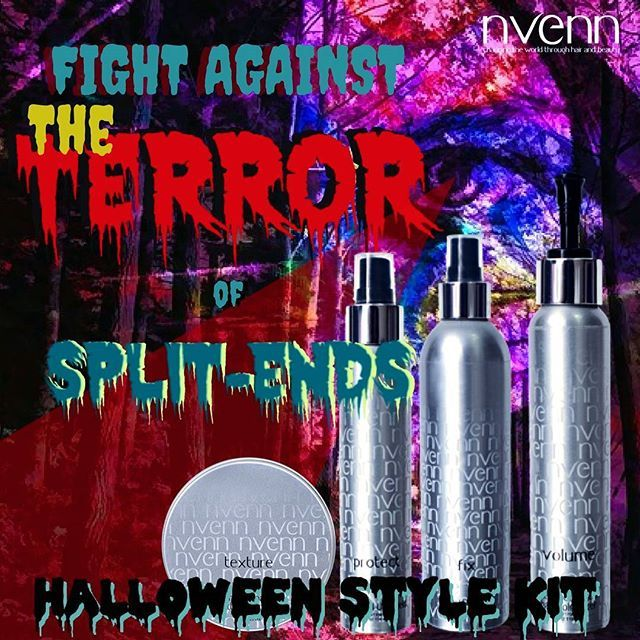 SPLIT ENDS are TERRIFYING, and HARSH PRODUCTS and chemicals DAMAGE HAIR    craft the coolest HALLOWEEN hairstyles and fight split ends and color damage with our HALLOWEEN STYLE KIT. https://goo.gl/2UDFYJ    it has everything you need to create the best looks all october long!    #nvenn #halloween #style #kit #halloweenhair #halloweenstylekit #yeghair #yychair #bbloggers #salonpro #spooky #retrofilmart #retrohorror #dappereyevisuals #beautyblogger #