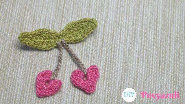 DIY Crochet and Knitting Povyazuli: [Crochet] How to Crochet Cherry Hearts Applique.