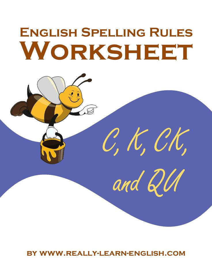 English Spelling Rules and Printable Worksheets for the /K/ sounds: C, K, CK, and QU.
