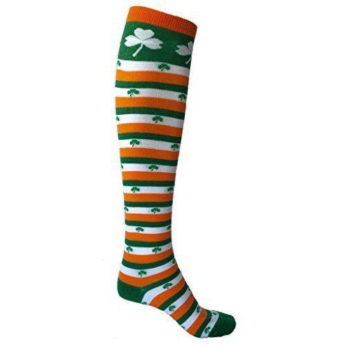 St. Patricks Day Irish Striped Knee Socks Shamrock Patrick's Leaf Clover Womens #StPatrick