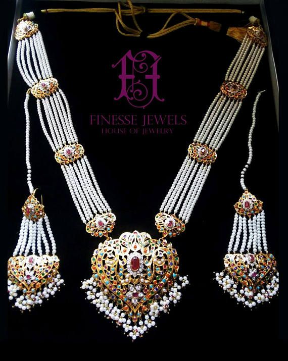 43aa44e561c8a 925 Sterling Silver Polki Haar,Hyderabadi Jadau Necklace,Nizam ...