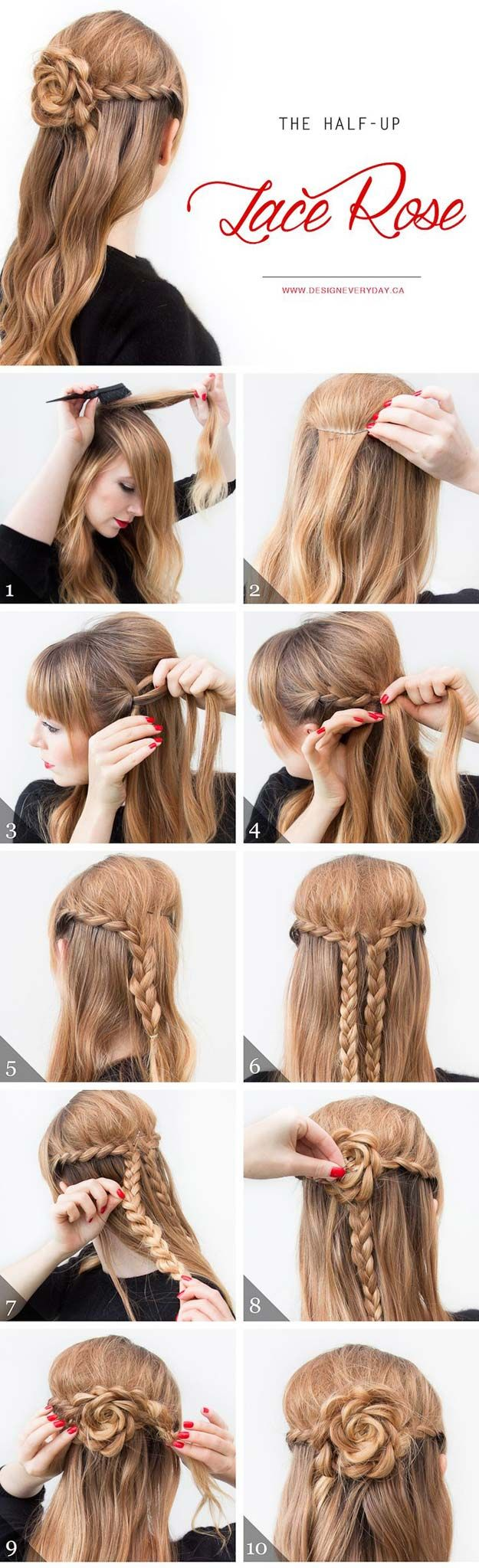 Cool and Easy DIY Hairstyles - The Half Up Lace Rose - Quick and Easy Ideas for Back to School Styles for Medium, Short and Long Hair - Fun Tips and Best Step by Step Tutorials for Teens, Prom, Weddings, Special Occasions and Work. Up dos, Braids, Top Knots and Buns, Super Summer Looks http://diyprojectsforteens.com/diy-cool-easy-hairstyles