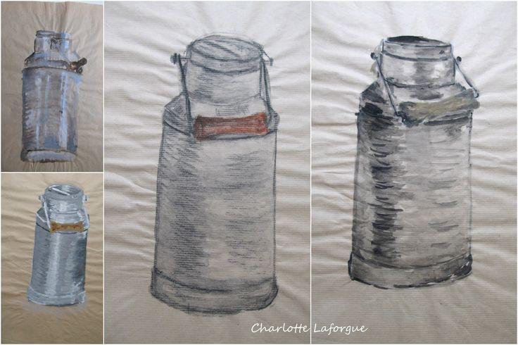 collections de peintures sur la nature morte   pot de lait