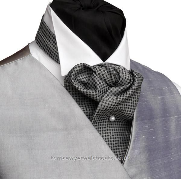 ascot worn THIS way. Still can't decide between gray and beige waistcoats