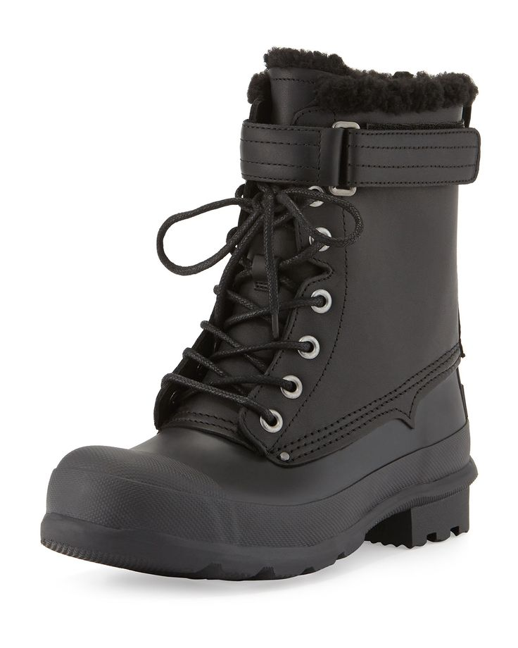 Rubber and Shearling Fur Lace-Up Boot, Black - Hunter Boot