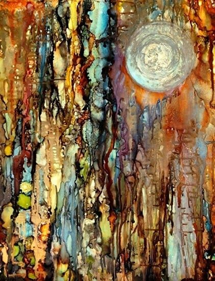 "Contemporary Artists of Louisiana: ""Orb II"" Original Alcohol Ink Contemporary Abstract Cosmos Painting by New Orleans Artist Lou Jordan"
