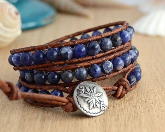 Midnight blue bohemian chic wrap bracelet. by SinonaDesign, €41.00