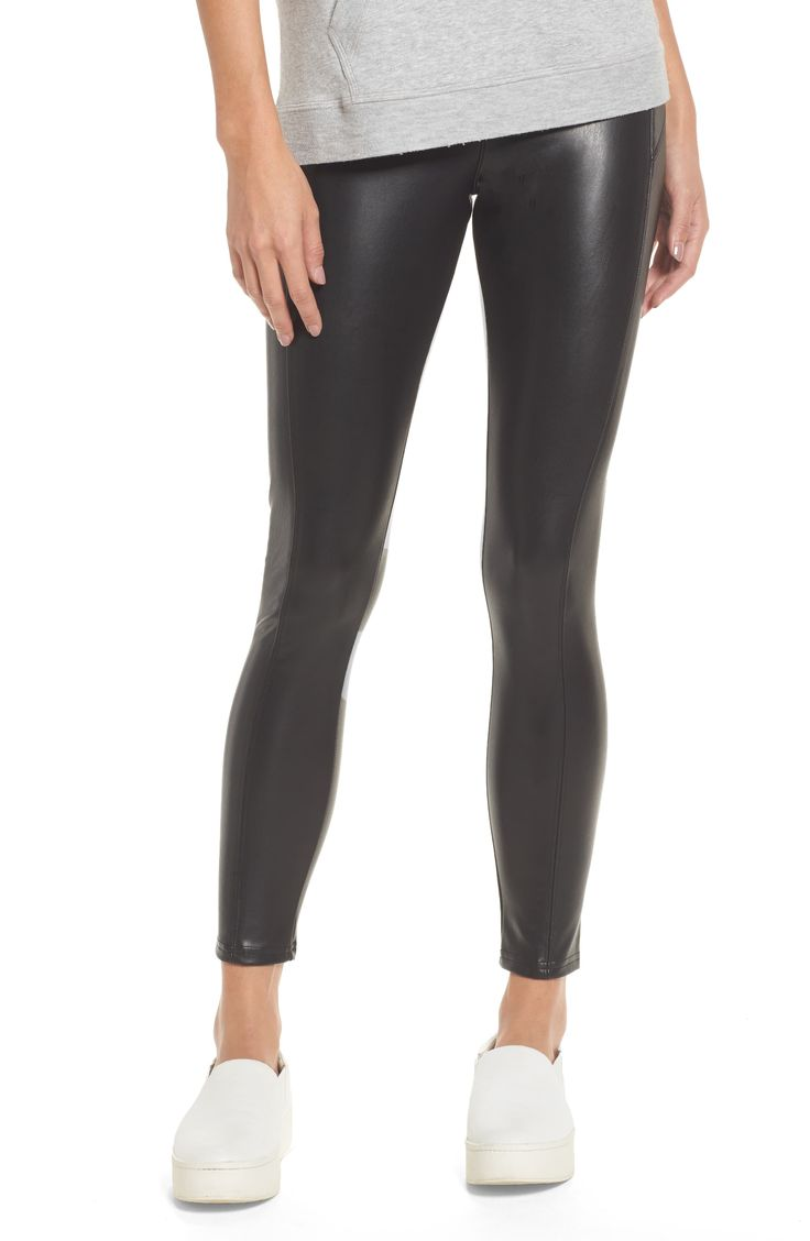 Women's Nordstrom Faux Leather Leggings, Size Small - Black