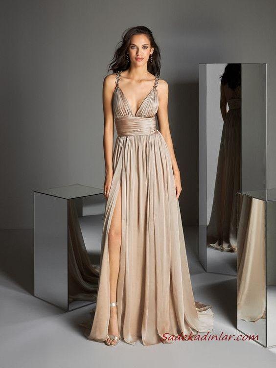 2020 Pronovias Uzun Abiye Elbise Modelleri Vizon Uzun Askılı V Yakalı Kloş Etekli Yırtmaçlı