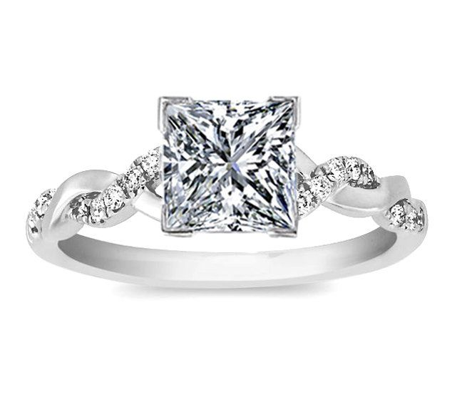 princess twisted pave band engagement ring