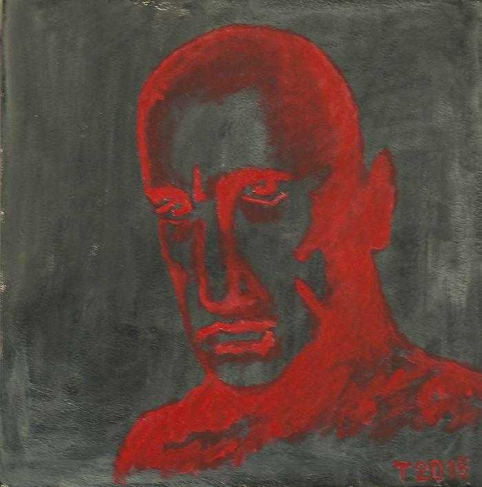 Vladimir Mayakovsky by Tanya Sazansky acrilic, canvas, 30x30 #contemporary #art #moscow #russia #paint #mayakovsky
