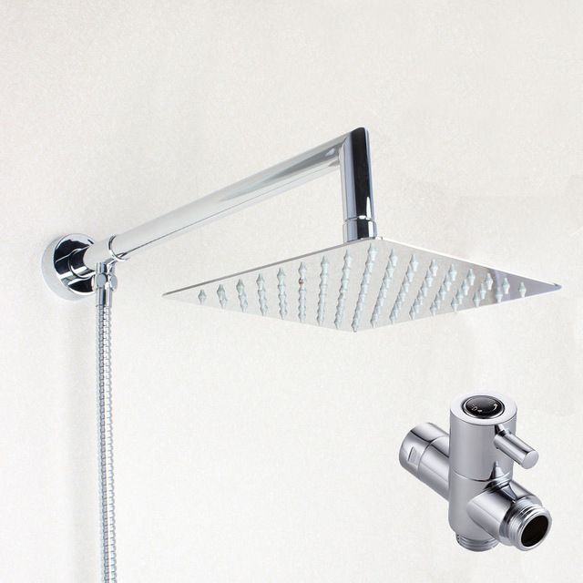 Perfect 8 Inch Square Rainfall Shower Head Extension Shower Arm Bottom Entry With  T Adapter Shower
