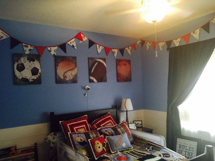 Football, Baseball, Soccer Banner...Fabric Bunting by GmaCustom4You on Etsy https://www.etsy.com/listing/231910793/sports-banner-boy-sports-nursery-banner