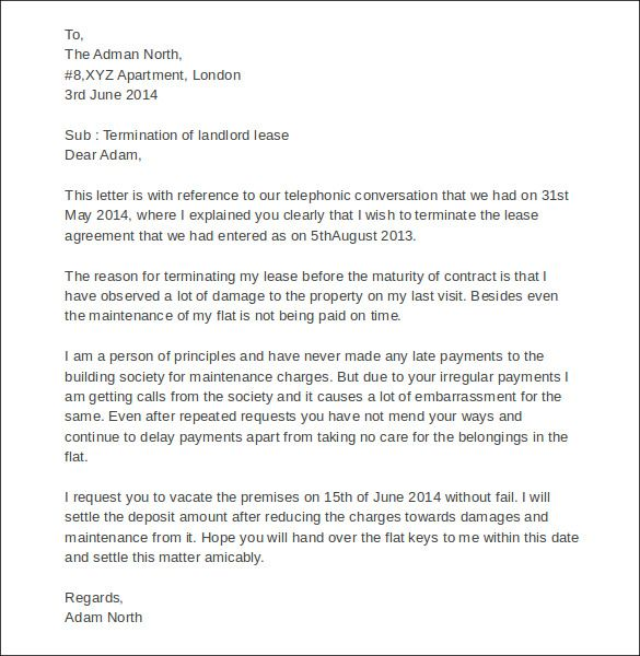 sample termination letters landlord lease letter with lucy