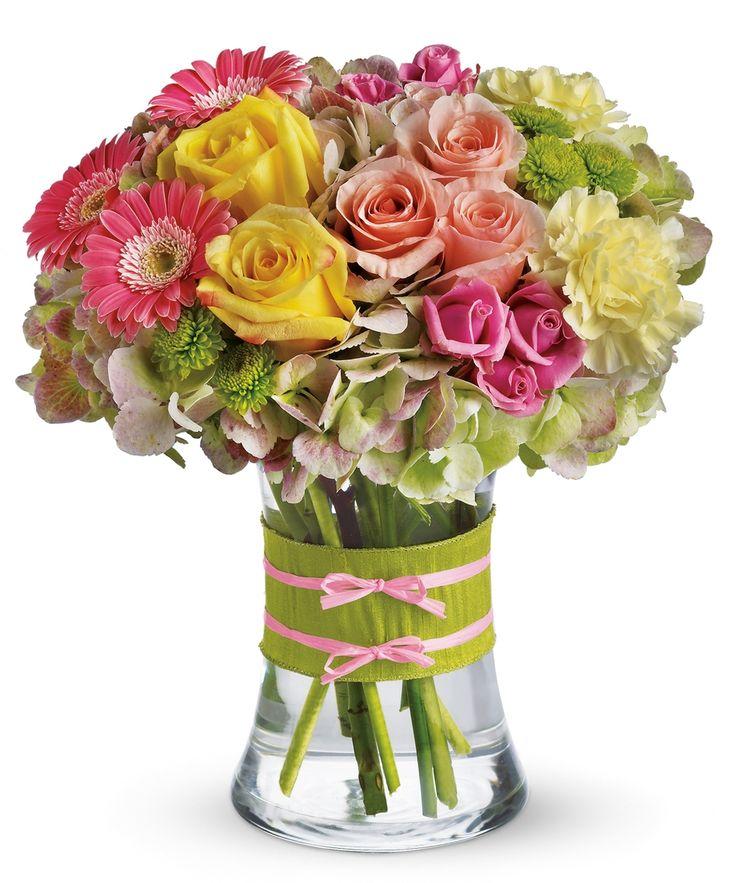 Finelooking beauty toys her pink flower