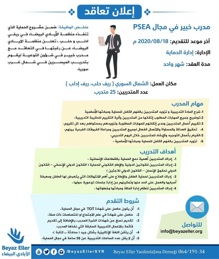 إعلان تعاقد مع مدرب خبير في مجال الحماية Psea Website