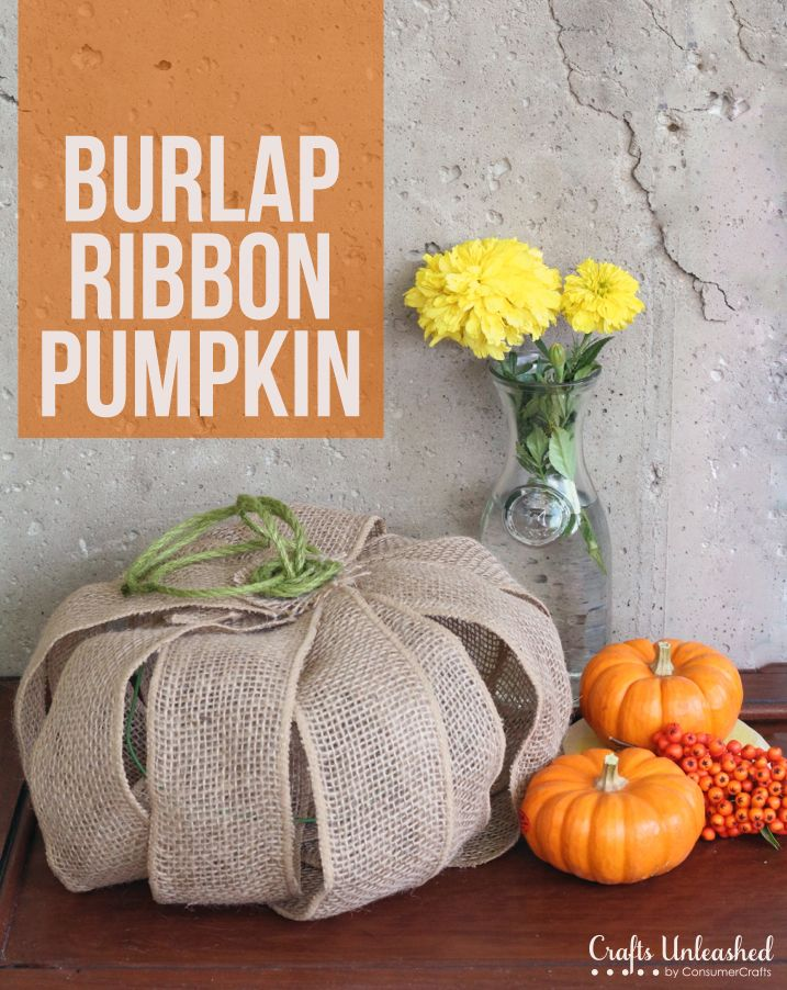 Burlap Ribbon DIY Pumpkin Decor