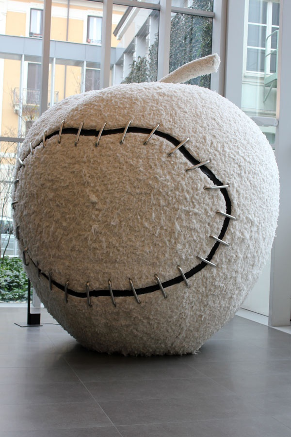 giant furry apple sculpture at Zegna Headquarters