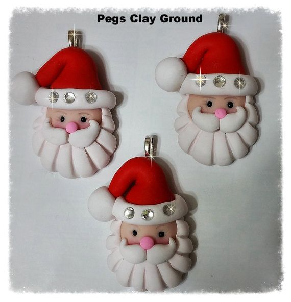 Polymer Clay Santa Rhinestone Christmas Pendant  by PegsClayGround  . Now Available at Pegs Sew Crafty.