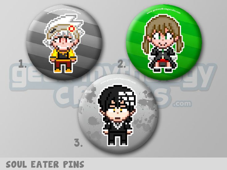 "Soul Eater, Soul, Maka, Death the Kid Anime Pixel Art 1.5"" Pin Buttons or Magnets by GeekMythologyCrafts on Etsy"