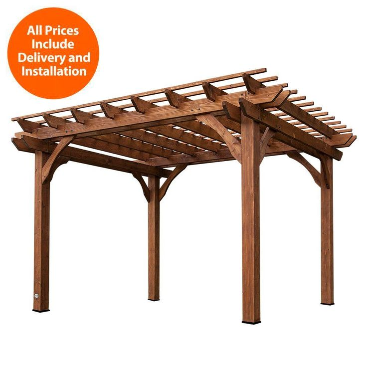 Backyard Discovery Installed 10 ft. x 12 ft. Cedar Pergola, Browns/Tans