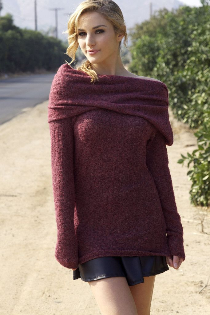 This sultry sweater features a super soft knit and a slinky fit, along with a fold over top for an off the shoulder look. A cozy knit sweater for those cold nights! $45 at Obsezz.com