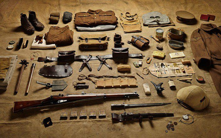 1916 private soldier, Battle of the Somme  While the First World War was the first modern war, as the Somme kit illustrates, it was also primitive. Along with his gas mask a private would be issued with a spiked 'trench club' – almost identical to medieval weapons.