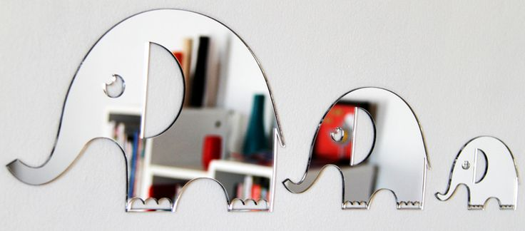 Gorgeous Elephant Family mirrors that come with removable adhesive. These shatterproof mirrors are made from perspex and won't leave marks on the wall. The daddy elephant is 30.5 x 19 cm, mummy elephant is 21 x 13 cm and baby elephant 13.5 x 8cm. What a cute family!