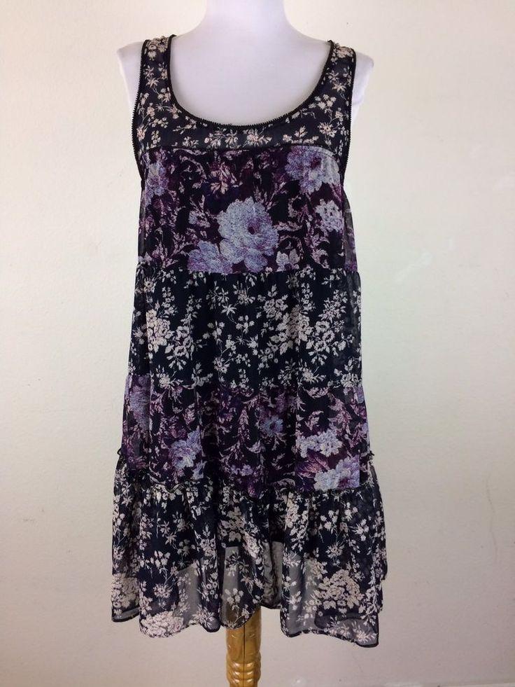 Kimchi Blue Dress Sz Small Chiffon Floral Bohemian Blue Purple Ruffled Babydoll #KimchiBlue #BabydollTent #Casual