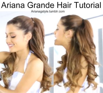 *Requested* Ariana Grande Hair Tutorial xx Step 1 - Start by taking all the hair above your ear and gathering it into a ponytail creating the half up/half down style Step 2 - Next use a 1 inch curling iron to curl the rest of the hair thats down and also the hair thats in the ponytail Step 3 - Then if you have bangs or extra hair just pin it to the side