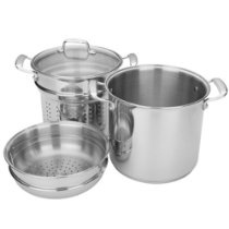 MIU France Stainless Steel Pasta Cooker and Steamer with Glass Lid, 10-Quarts