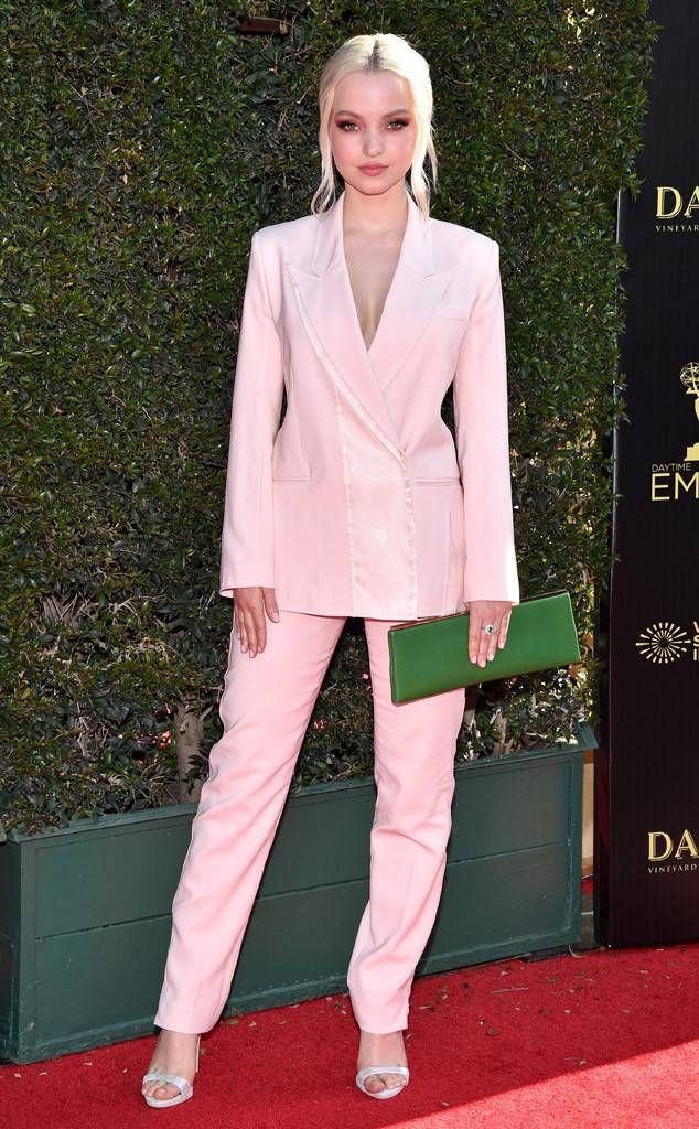 Dove Cameron from Daytime Emmy Awards 2018 Red Carpet Fashion The  Descendants star commands the evening in a light pink power suit. 86afefa6f