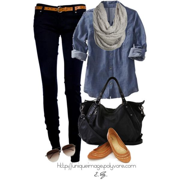 button down, skinny jeans, and flats.Fashion, Black Skinny, Skinny Jeans, Style, Chambray Shirts, Denim Shirts, Fall Outfit, Black Jeans, Black Skinnies