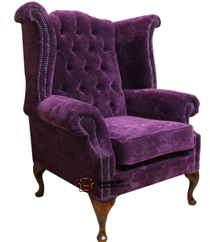 Chesterfield Queen Anne High Back Fireside Wing Chair Amethyst Purple Fabric :) wow...