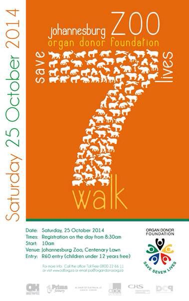Save 7 Lives Walk at Joburg Zoo in aid of Organ Donor Foundation