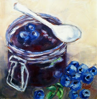 "Blueberry Jam -8""x8"" Sarah B. Lytle Original Oils - new painting and blog post #http://sarahlytleart.blogspot.com"