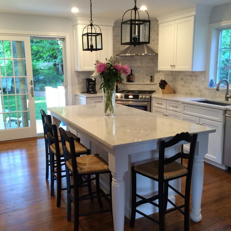 Small Kitchen And Dining Room: Minuet Quartz With White Dove Cabinets