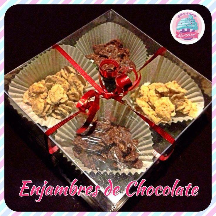 ENJAMBRES DE CHOCOLATE!!! CORNFLAKES NUEZ Y PASAS CUBIERTOS DE CHOCOLATE BLANCO, CHOCOLATE DE LECHE Y CHOCOLATE AMARGO!!!